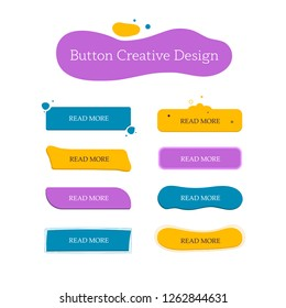 Button creative set. Navigation of website. Vector design template