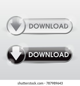Button download web glossy White metallic
