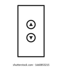 Button of elevator vector icon.Outline vector icon isolated on white background button of elevator .