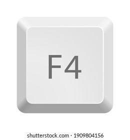 Button with F4 symbol . Icon Vector Illustration.