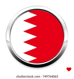 Button Flag of Bahrain in a round metal chrome frame with a shadow. The symbol of Independence Day, a souvenir, a button for switching the language on the site, an icon.