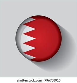 Button Flag of Bahrain in a round metal chrome frame with a shadow. Icon representing round button Bahrain flag. Ideal for catalogs of institutional materials and geography