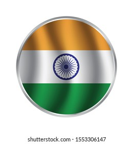 button flag India, Indian Flag Badge - Flag of India Button Isolated on White, India circle button flag background texture. Vector illustration.