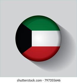 Button Flag von Kuwait in einem runden Metall Chromrahmen mit einem Schatten. Symbol repräsentiert runde Taste Kuwait Flag. Ideal für Kataloge von institutionellen Materialien und Geografie.