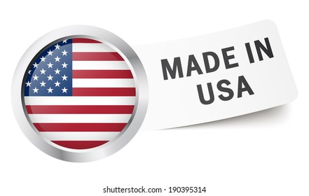 "Button with flag "" MADE IN USA """