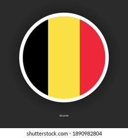 ฺBelgium button flag with shadow on dark grey background. Belgium circle flag icon isolated on barely dark background.