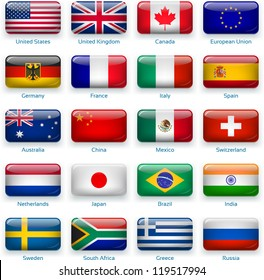 button flags: most popular countries. 3 layers: -  shadows -  flat flag (you can use it separately) -  glossy (with transparencies). Accurate colors. Contain EPS with transparencies