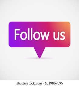 Button Follow us, color gradient isolated counter notification. Social media Follow us background Instagram. Follow us logo, image, jpeg, symbol, sign, ui. Vector illustration. EPS 10.