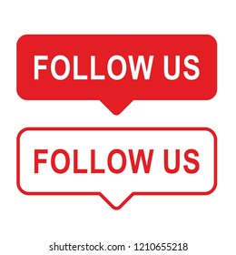Button Follow us, red color isolated counter notification. Social media Follow us background Instagram. Vector illustration.
