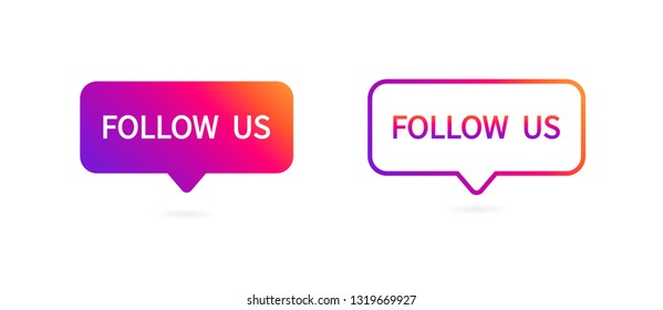 Button Follow us. Social media icon. Vector illustration