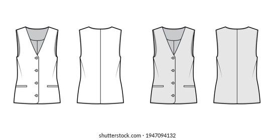 Button front vest waistcoat technical fashion illustration with sleeveless, welt besom pockets, fitted body. Flat apparel template front, back, white, grey color style. Women, men, unisex CAD mockup