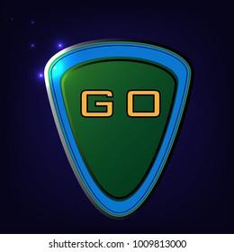 Button green glossy, shiny metallic, vector illustration