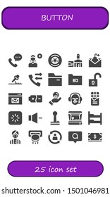 button icon set. 25 filled button icons.  Collection Of - Phone call, Add user, Badge, Paint brush, Email, Microphone, Call, Folder, Unlock, Browser, Battery, Idea, Commentator