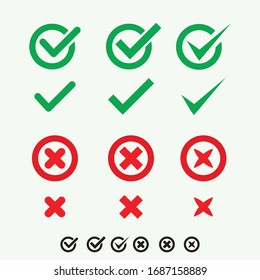 Button icons for: Accepted Rejected, Approved Disapproved, Yes No, Right Wrong, Green Red, Correct False, OK Not Ok. Vector mark web symbols in green and red.