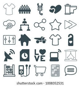 Button icons. set of 25 editable filled and outline button icons such as truck, mp3 player, love word, heart, heart tag, laptop, document, structure, home, satellite, scorpion