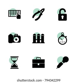 Button icons. vector collection filled button icons set.. includes symbols such as fence, keyboard, stopwatch, pliers, microphone, camera. use for web, mobile and ui design.