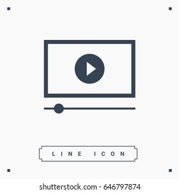 button isolated minimal icon. play graph line vector icon for websites and mobile minimalistic flat design.