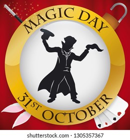 Button with magician silhouette ready to perform some magical spectacles during Magic Day: fabrics and bunny from a top hat, playing card tricks, escape of padlocks and more illusions with magic wand.