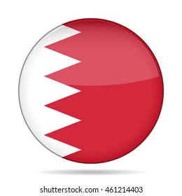 button with national flag of Bahrain and shadow