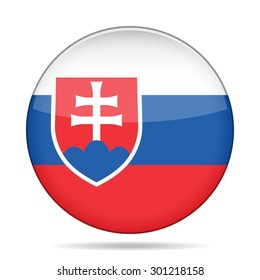 button with national flag of Slovakia and shadow