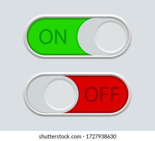 Button off switch and enable. Icon of toggle in phone. Circle switcher for active, deactivate in app, mobile, interface, website. User symbols for navigation in ui. Green-on, red-off indicator. Vector