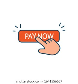 button pay now with hand cursor isolated icon vector illustration design