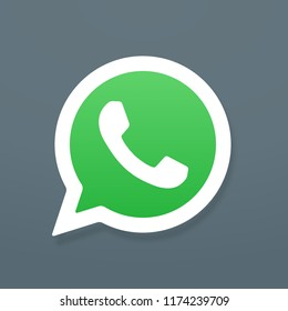 Button phone with shadow. Whatsapp logo, symbol, app, web, ui. Vector illustration. EPS 10