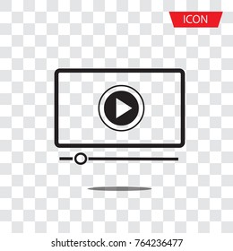 button play video on Desktop icon isolated on transparent background.