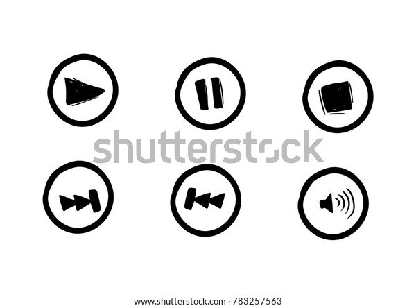 button player media vector drawing doodle