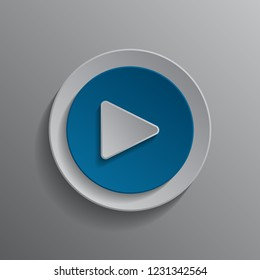 Button player for music playback vector illustration on gray background