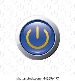 Button Skull Symbol Danger Glossy Blue Stock Vector Royalty Free