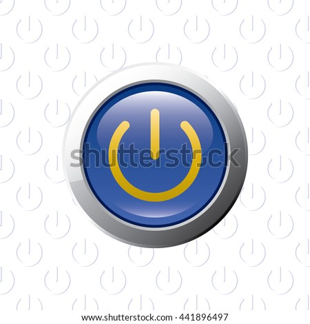 Button Power Symbol Glossy Blue Grey Stock Vector Royalty Free