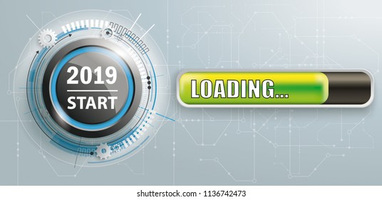 Button with progress bar and text 2019 Start. Eps 10 vector file.