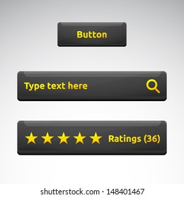 Button search bar rating box with stars | dark theme template | business vector design | golden and white | web elements set