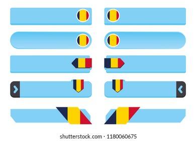 A Button Set with the Country Flag of  Chad