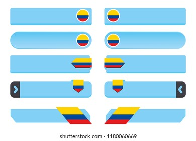 A Button Set with the Country Flag of  Colombia