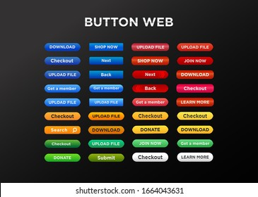Button set for web site or mobile. Vector icon.