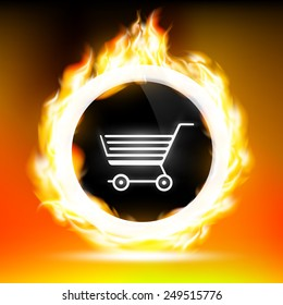 button with shopping cart and red flames