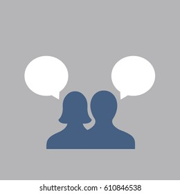 button of silhouette vector simple of two people or persons with 2 white bubbles in the social digital media on internet. one male & female Talking to each other on flat design style illustration