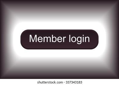 button for a site. Member login, icon. vector design