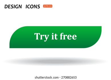 button for a site. Try it free, icon. vector design