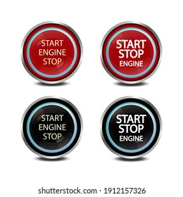 Button start stop engine in red and black. Realistic look. For decoration, design, dashboard decoration.