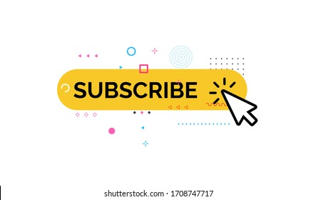 Button of subscribe, funny and colorful style icon. Media Channel Subscription, click on yellow button with geometric design element. Vector illustration.