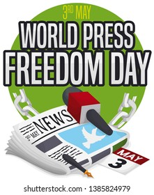 Button with symbolic journalist elements representing the speech freedom during World Press Freedom Day: microphone, pen, newspaper, calendar and broken chains.