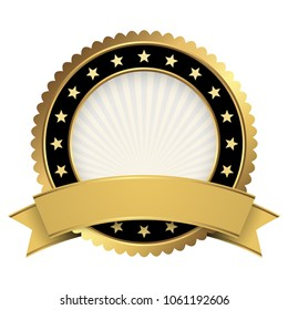 Button template gold and black with golden banner vector file