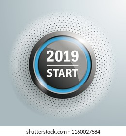 Button with text 2019 Start on the gray background. Eps 10 vector file.