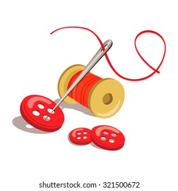 button, thread with a needle isolated. vector illustration