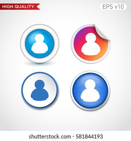 Button with user icon. Modern UI vector.