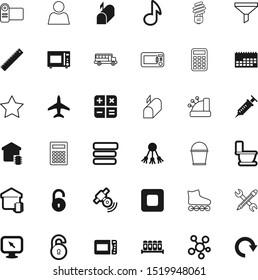 button vector icon set such as: halogen, low-energy, bottleneck, reset, idea, lock, roller, toilet, experiment, reminder, stars, human, favourite, bucket, logistic, lightbulb, measure, item, wrench