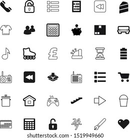 button vector icon set such as: 24, wash, smartphone, empty, month, handset, sand, household, trolley, calculate, clothes, deliver, countdown, store, 247, minute, cooking, gbp, stair, melody, sale